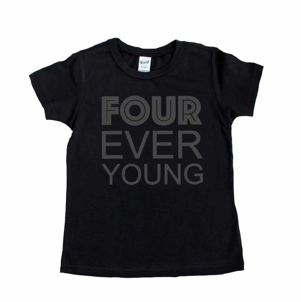 Black short sleeve tshirt with four ever young written in charcoal