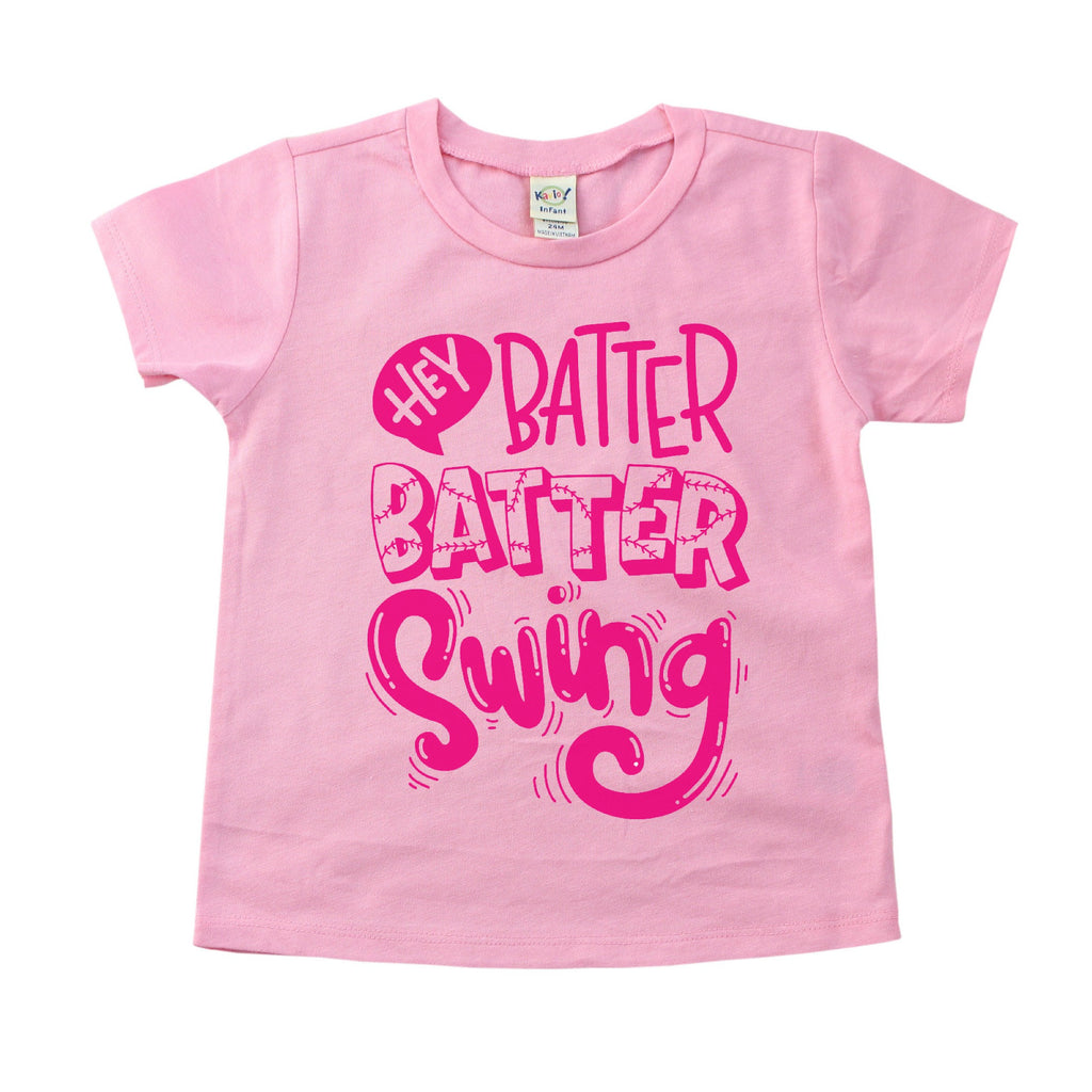 Pink tee with Hey Batter batter swing on front in darker pink