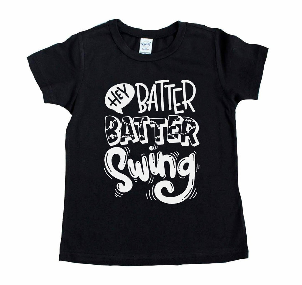 Black tee with Hey Batter Batter Swing in white on front