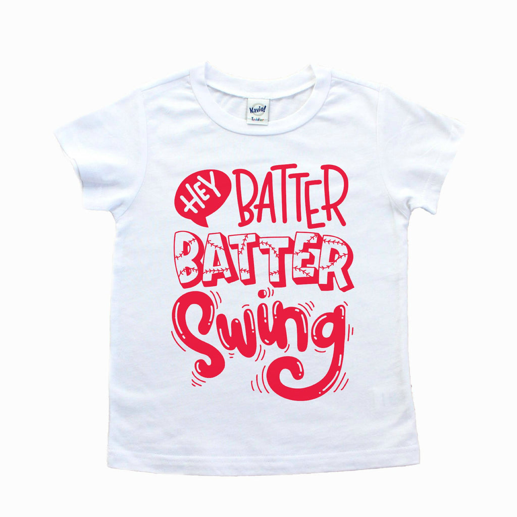 White tee with Hey batter batter swing in red on front