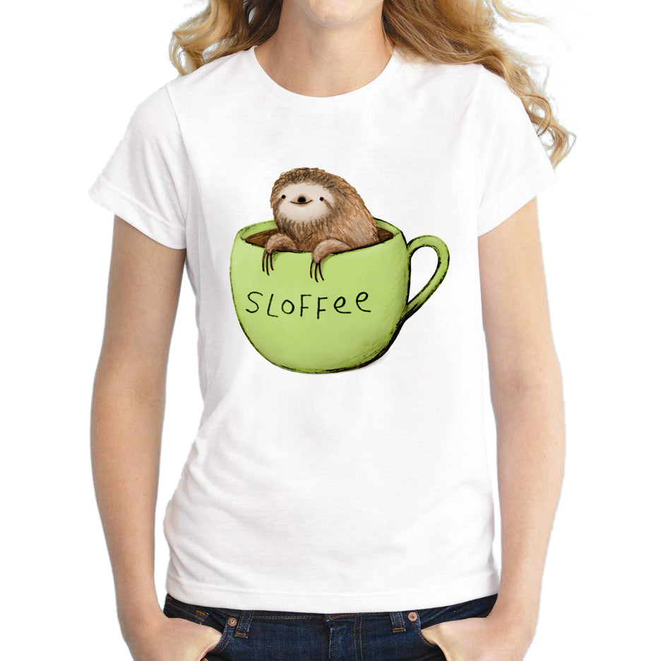Sloth Coffee T-Shirt Short Sleeve