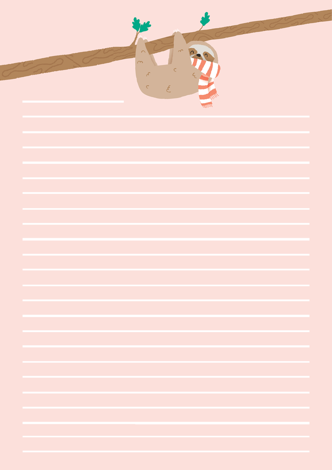 letter size paper printable letter paper stationery instant a4 23144 | a4 SIZE SLOTH PAPPER 530x@2x