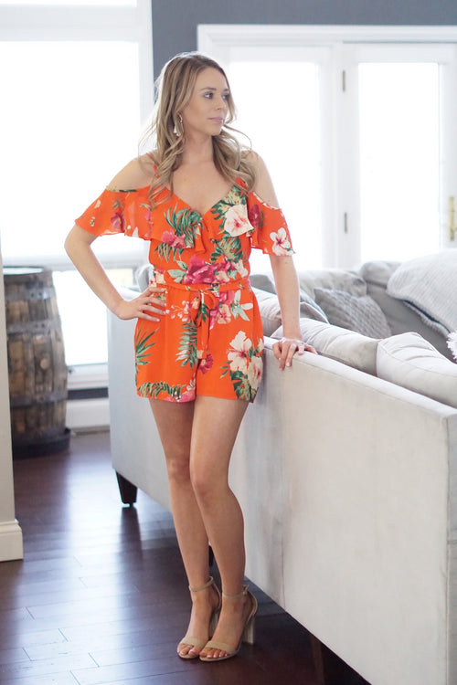 Tropical Off The Shoulder Romper
