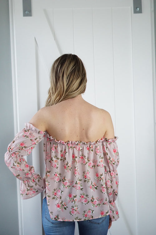Blush Floral Off The Shoulder Blouse