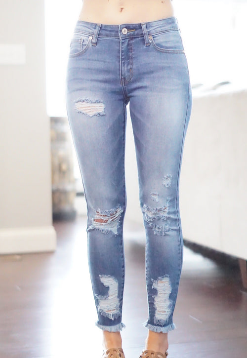 Light Wash Distressed Frayed Skinny