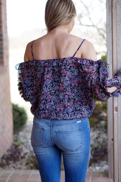 Black Multicolored Floral Blouse