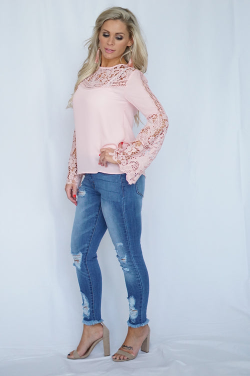 Pink Lace Detailed Blouse