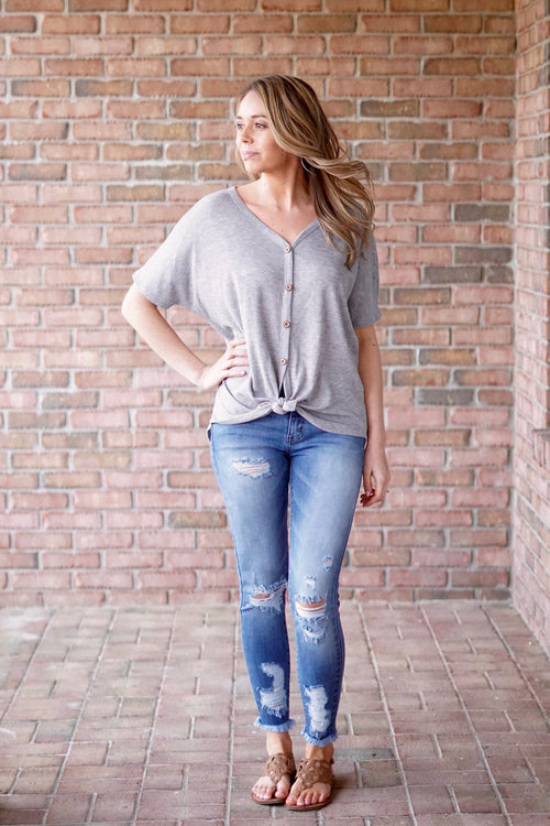 Gray Button Down Thermal Top