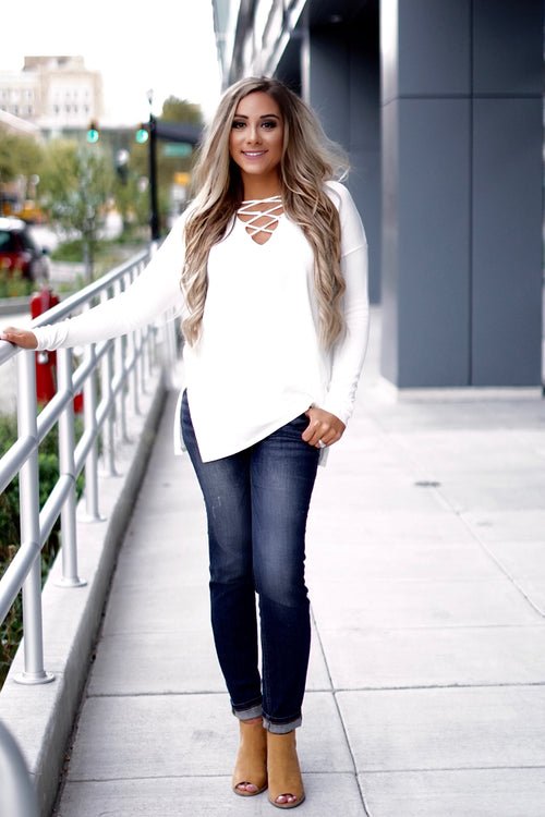 Cream Long Sleeve Lace-up Sweater