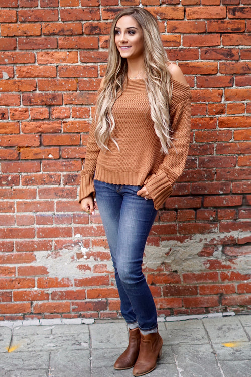 Cinnamon Cold Shoulder Wide Sleeve Sweater