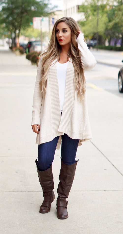 Sand Ribbed Cardigan