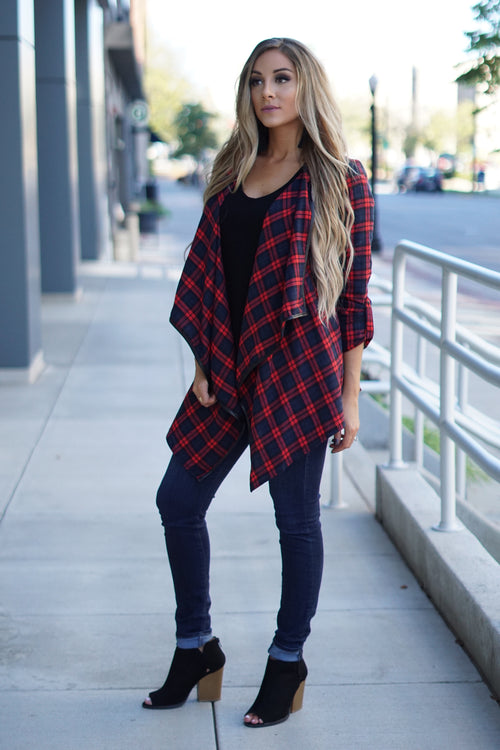Red and Navy Plaid Jacket
