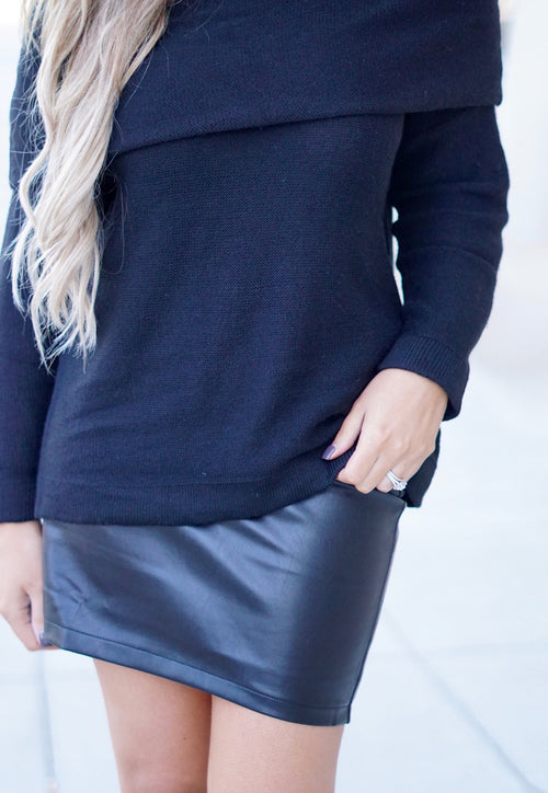 Black Faux Leather Lace-up Skirt