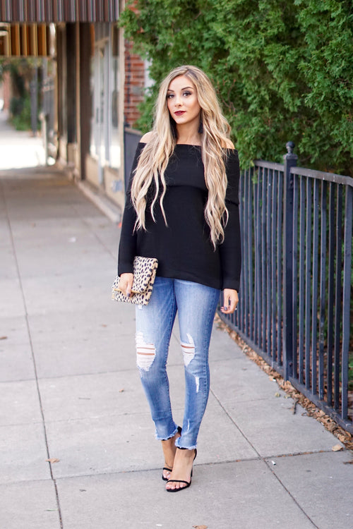 Black Off The Shoulder Sweater