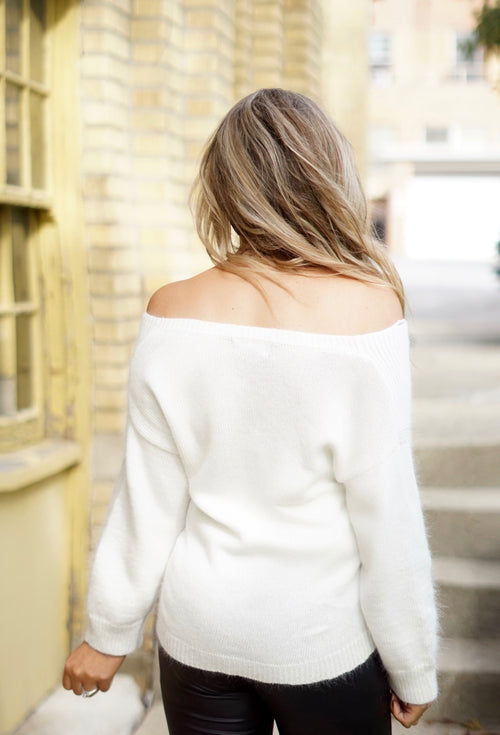 Ivory Off The Shoulder V-Neck Sweater