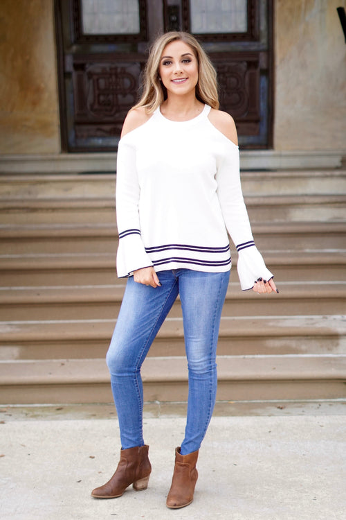 Ivory Cold Shoulder Bell Sleeve Sweater