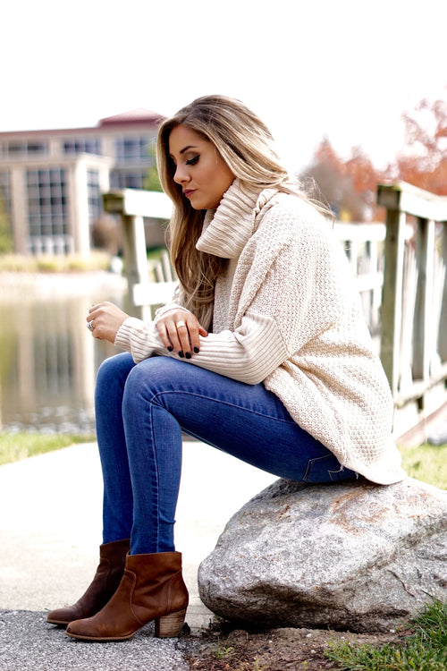 Beige Chunky Knit Pullover