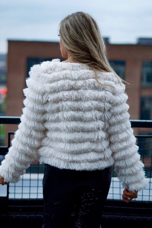 Cream Layered Faux Fur Jacket