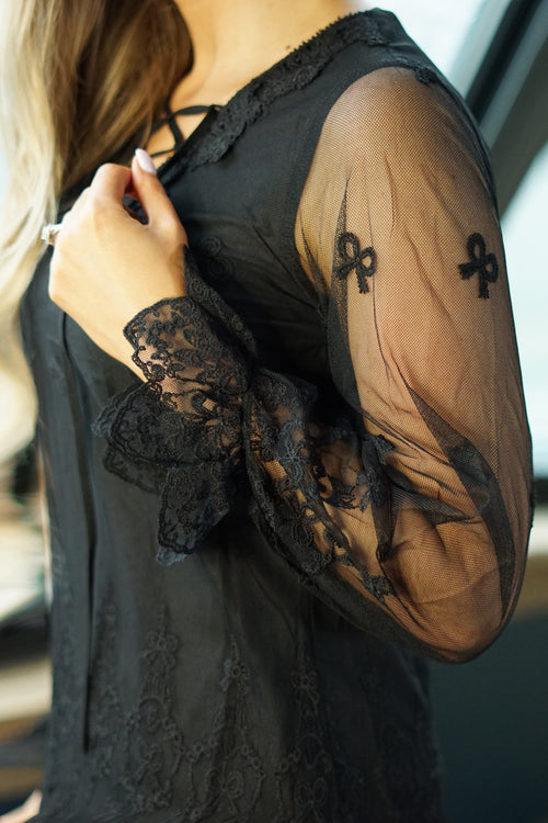 Black Sheer Sleeved Lace Blouse