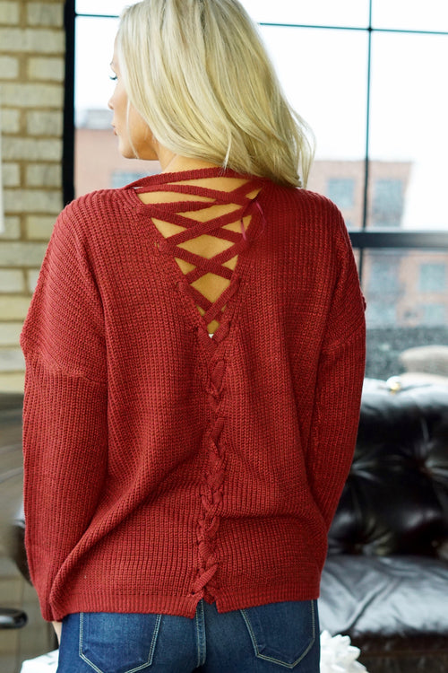 Dark Rust Lace Up Back Sweater