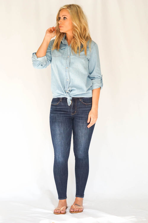 Chambray Light Wash Denim Shirt