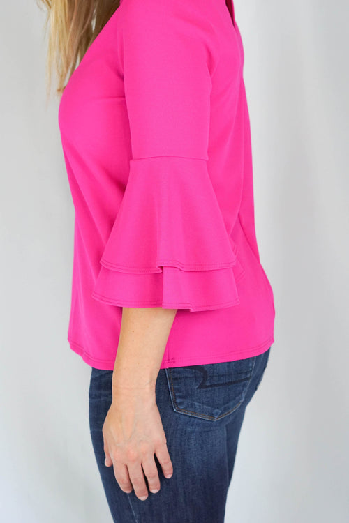 Fuchsia Lilly Bell Sleeve Top