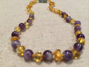 Baltic Amber Lemon & Amethyst
