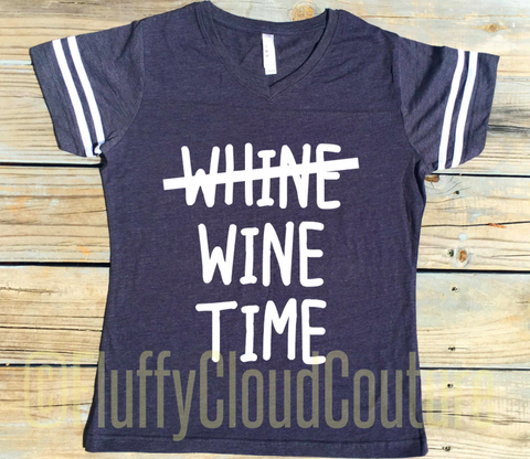 Whine, Wine Time - Ladies Modern Fit Short Sleeve V-Neck Football Shirt - Mom Life
