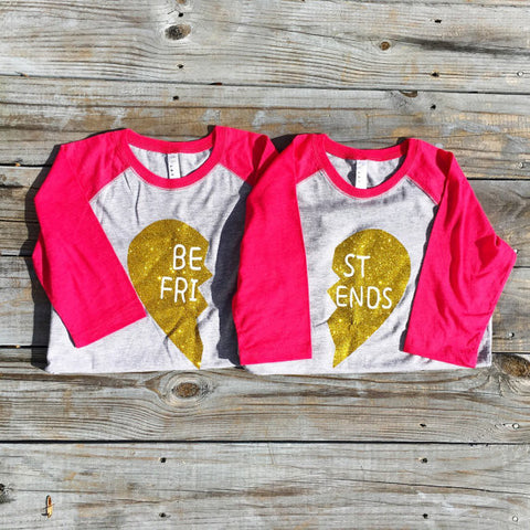 Best Friends Set - Pink with Glitter Gold Hearts