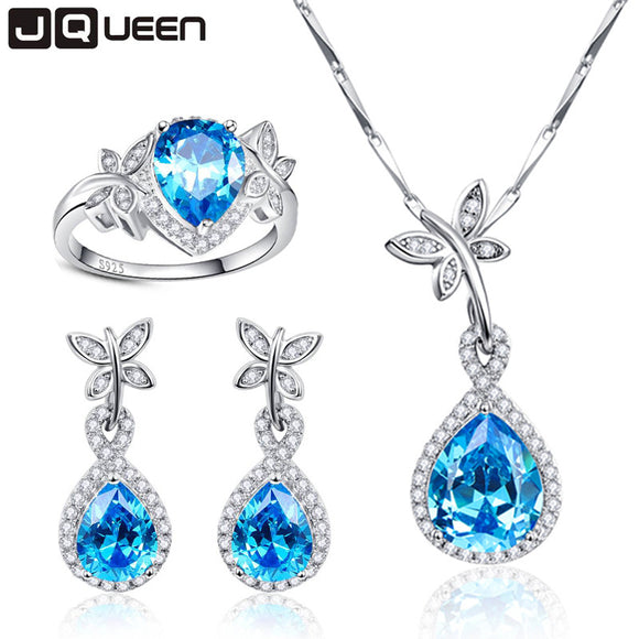 Big Promotion Wedding Jewelry Sets for Brides 925 Sterling Silver Blue Topaz Drop Earrings Ring Necklace Bridal Jewelry Set