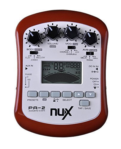 NUX PA-2 Portable Acoustic Guitar Multi-Effects Pedal Processor Flat Tuning Function