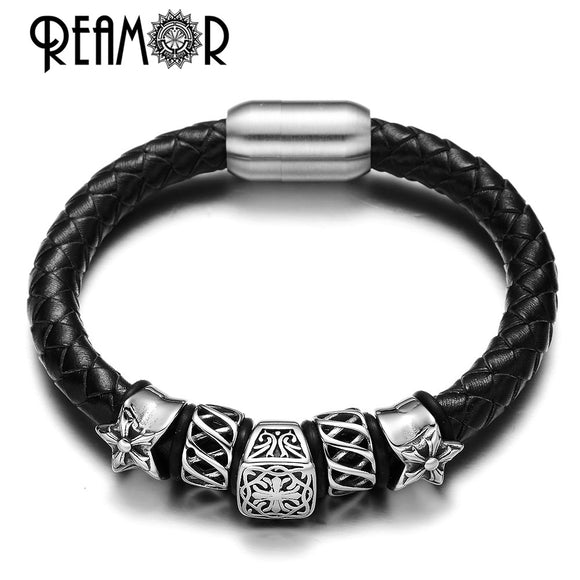 REAMOR Christmas Gift Punk Style Hearts 316L Stainless Steel 8mm Cross Beads Leather Bracelets Luxury Design with Magnet Clasp