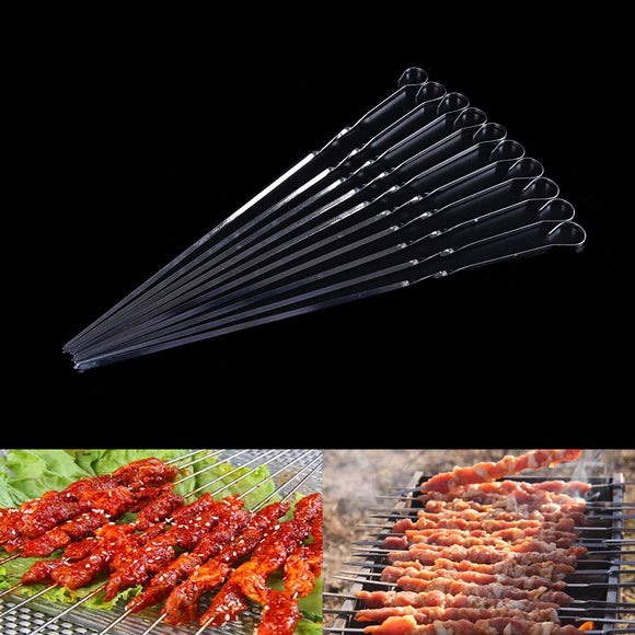 370mm 10PCS Stainless Steel BBQ UTENSIL Skewers Barbeque Kabob Needle Fork Wholesale