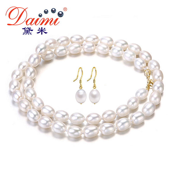 Daimi 6-7mm Natural Rice Pearl Jewelry 925 sterling silver Earrings sterling-silver-jewelry Freshwater Pearl Jewelry Sets