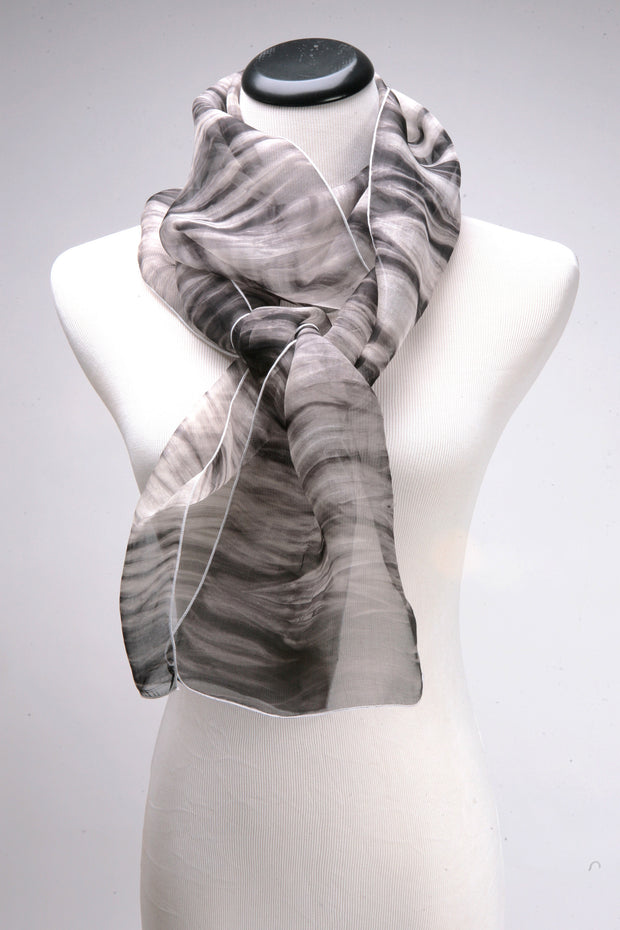 Hand dyed silk scarf in black and white shibori