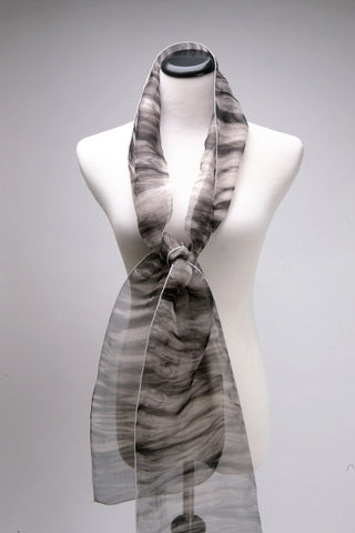 Hand dyed shibori Silk Scarf in black and white