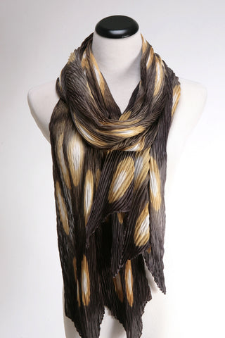 Golden Ovals Pleated silk scarf