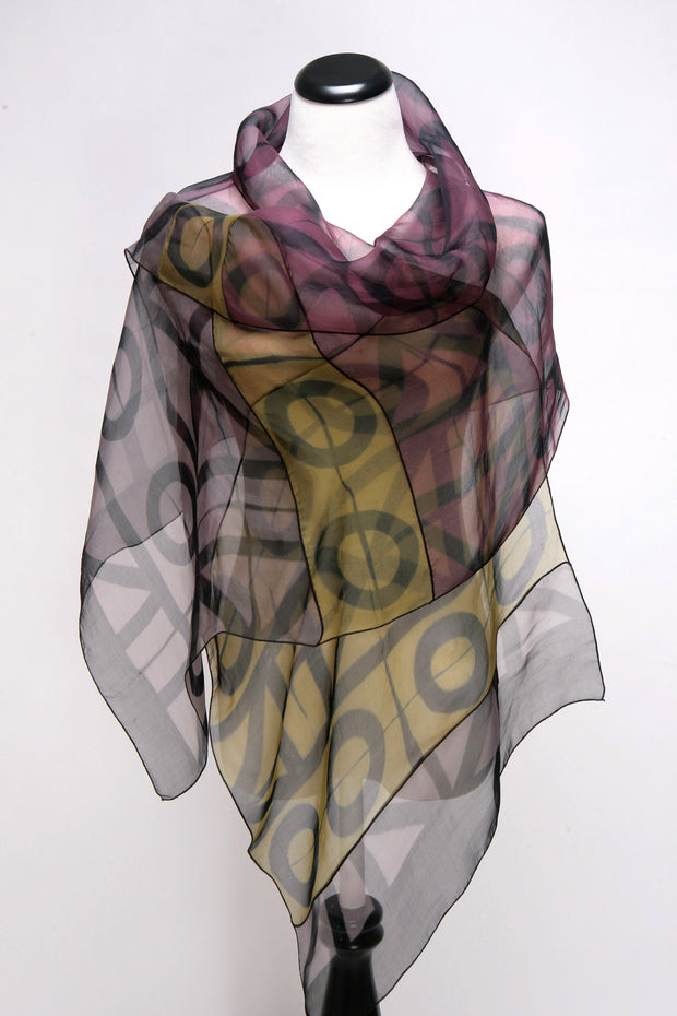 Silk Evening Wrap Hand dyed art scarf