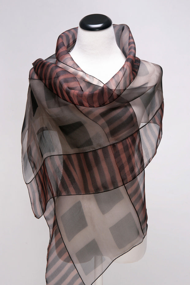 Squares Silk scarf in gray
