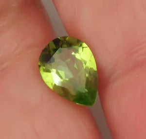 Peridot,1.70 Ct. Deep Green, Pear Cut, Arizona, Superb Luster