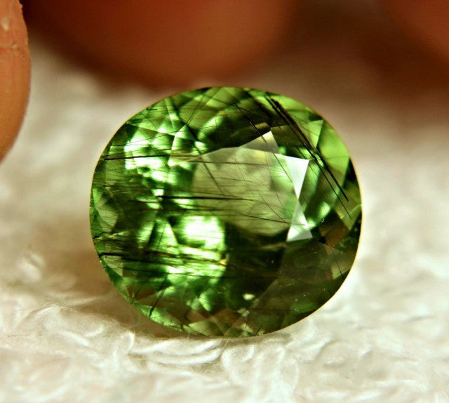 Peridot, 7.63 Ct. Rutilated, Deep Green, Horse Hair Inclusions