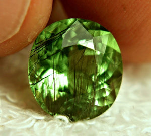 7.63ct Rutilated Peridot Horse Hair Inclusions