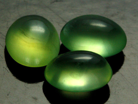 Green Prehnite Cabochons, Top Notch, Parcel of 3, Translucent