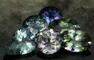 RARE, Assorted Color, Natural Faceted Tanzanite (6) No Heat, VVS