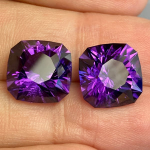 14.81 ctw Amethyst Matched Pair, Uruguay, Top Color, Flawless, Red Flash