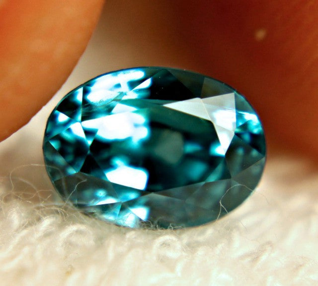 Zircon, 4.02 ct. Blue, Large, Vibrant, VVS, Heated, Cambodian