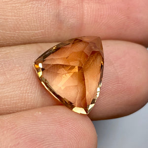 Back of Gem 9.55 ct. Topaz, Peachy Gold, Trillion, Shigar Valley, Skardu Mine, Flawless