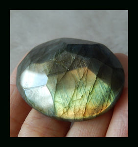 Labradorite Cabochon, 130 Ct. Gold Flash, Large, Faceted