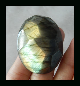 Jewelry making supplies Labradorite Cabochon, 130 Ct. Gold Flash, Large, Faceted