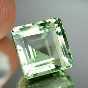 Prasiolite 18.33 ct, VVS, Light Basil Tea Green, Emerald Cut, Brazil